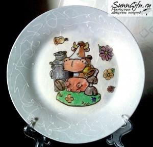 Декоративная тарелка Коровка