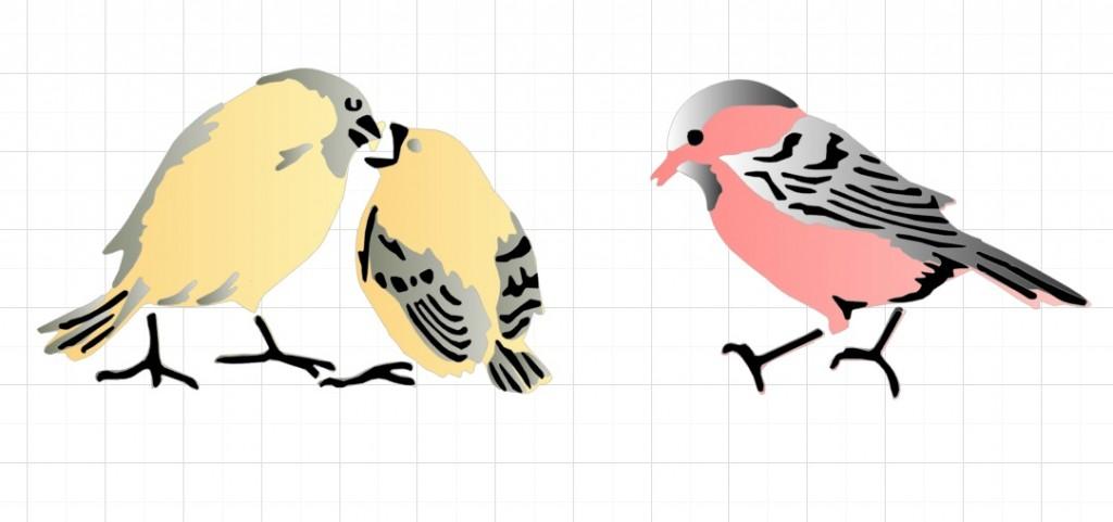 Птицы(трехслойный трафарет)