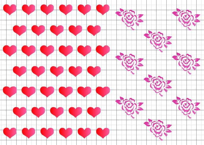 Сердечки и розочки А5